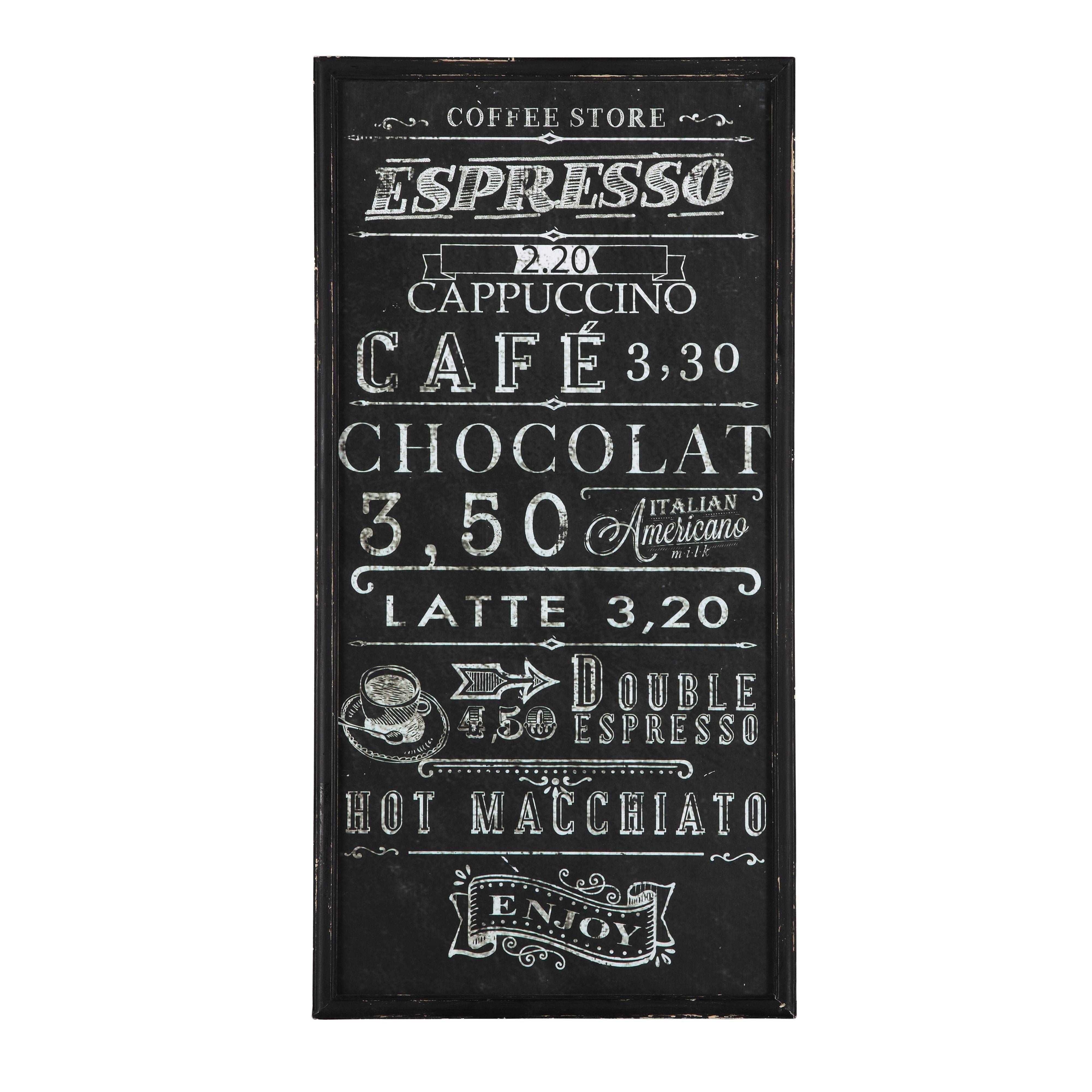 D co murale en bois et ardoise noire 45 x 90 cm caffe - Tableau ardoise deco cuisine ...