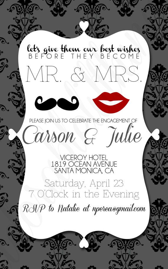 Romantic Lips and Mustache Mr and Mrs Engagement Party Invitation