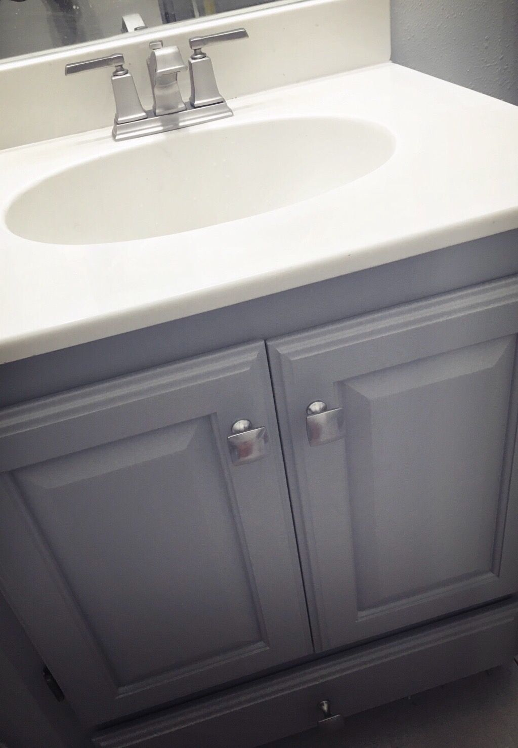 Bathroom Sink Update Dorian Grey Paint On Cabinets Moen - Moen boardwalk bathroom faucet for bathroom decor ideas
