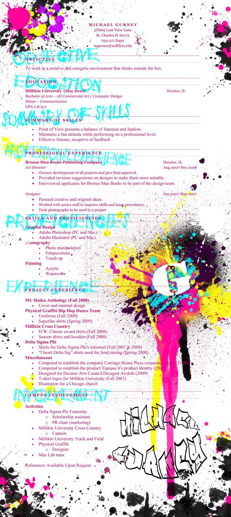 Creative Graffiti Resume Identity Design Pinterest Creative