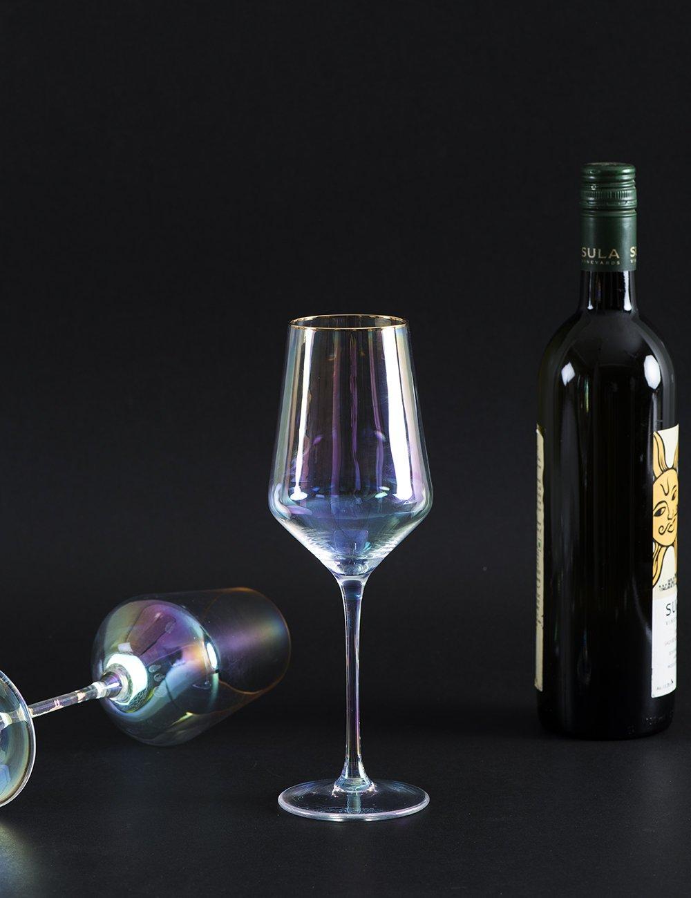 Pearlescent Wine Glass Set Of 2 Wine Glass Set Wine Glass Glass