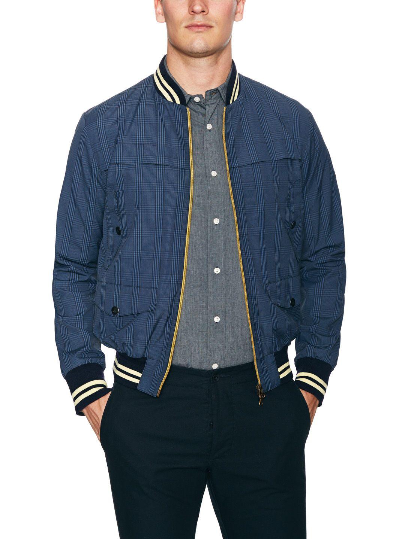 Cotton Plaid Bomber Jacket