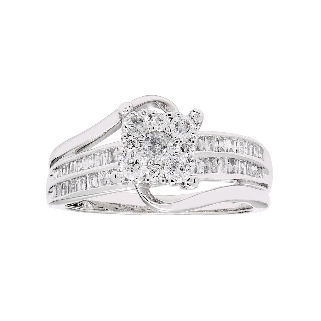 8a565e48a Lovemark 10k White Gold 3/4 Carat T.W. Diamond Cluster Ring, Women's, Size:  7