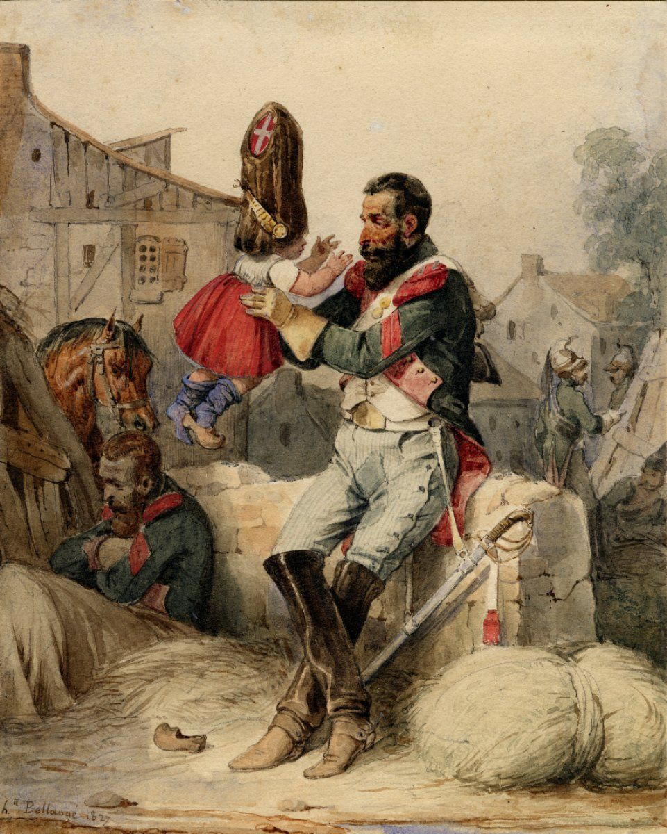 French carabinier, c. 1808, holding a child, H. Bellange