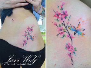 Flores De Cerezo Estilo Acuarelas By Javi Wolf Tatuajes