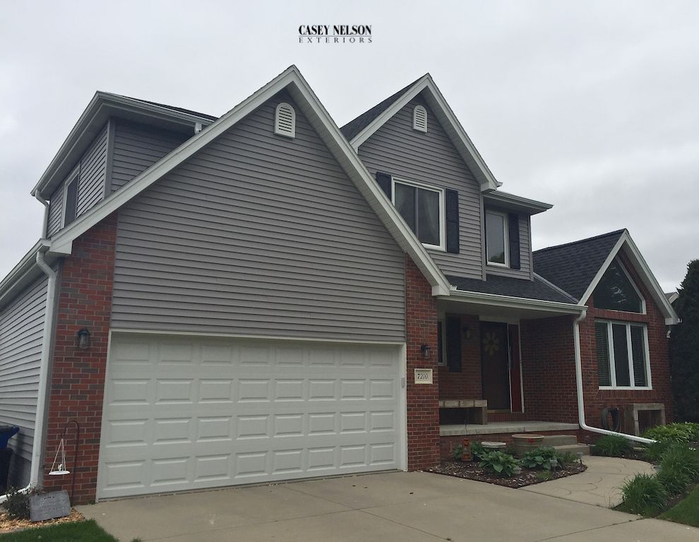 Image Result For Mastic Harbor Grey Siding With Red Brick Brick Exterior House Brick Siding Brick House Exterior Colors