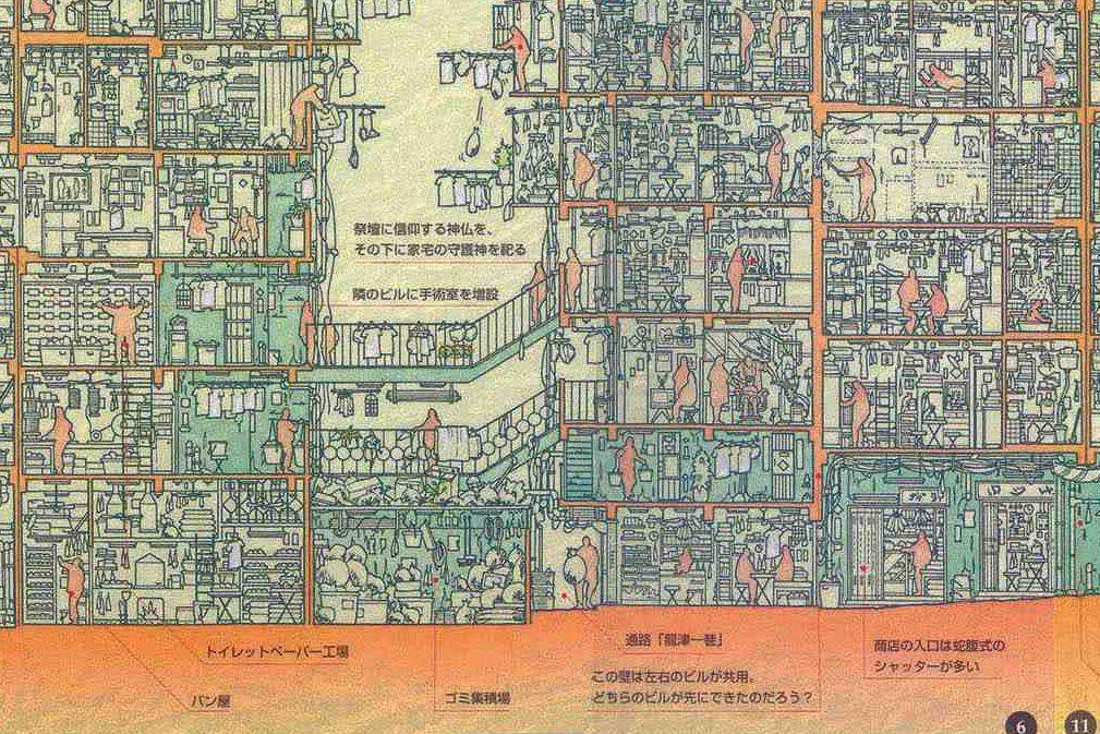 Kowloon Walled City Section Illustration Kowloon Walled
