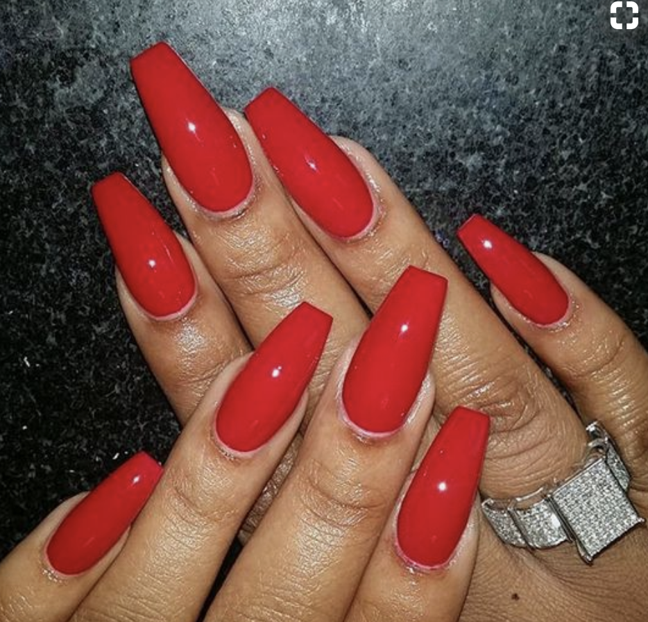 Firetruck Red Coffin Acrylic Coffin Shape Nails Red Acrylic Nails Red Nails