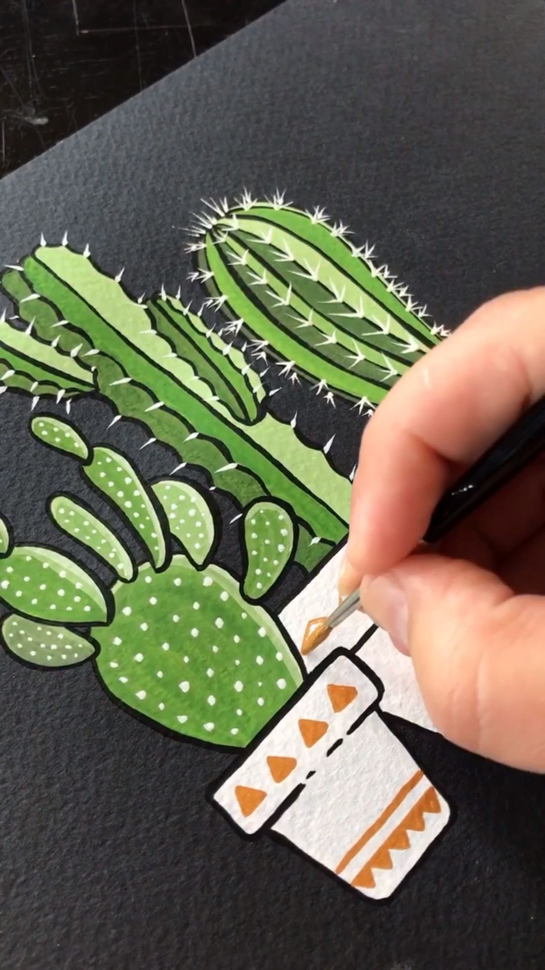 Gouache Painting Cacti on Black Paper by Philip Bo