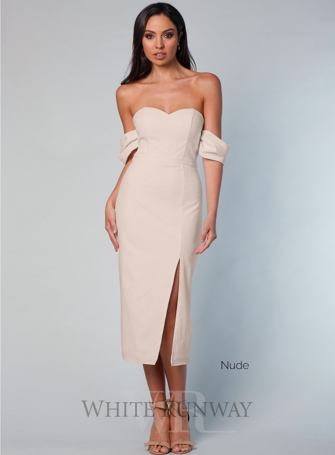 a6021b8eb5 Cassie Cocktail Dress. An elegant midi length dress by Samantha Rose. A  strapless style featuring detachable sleeves and side split in skirt.