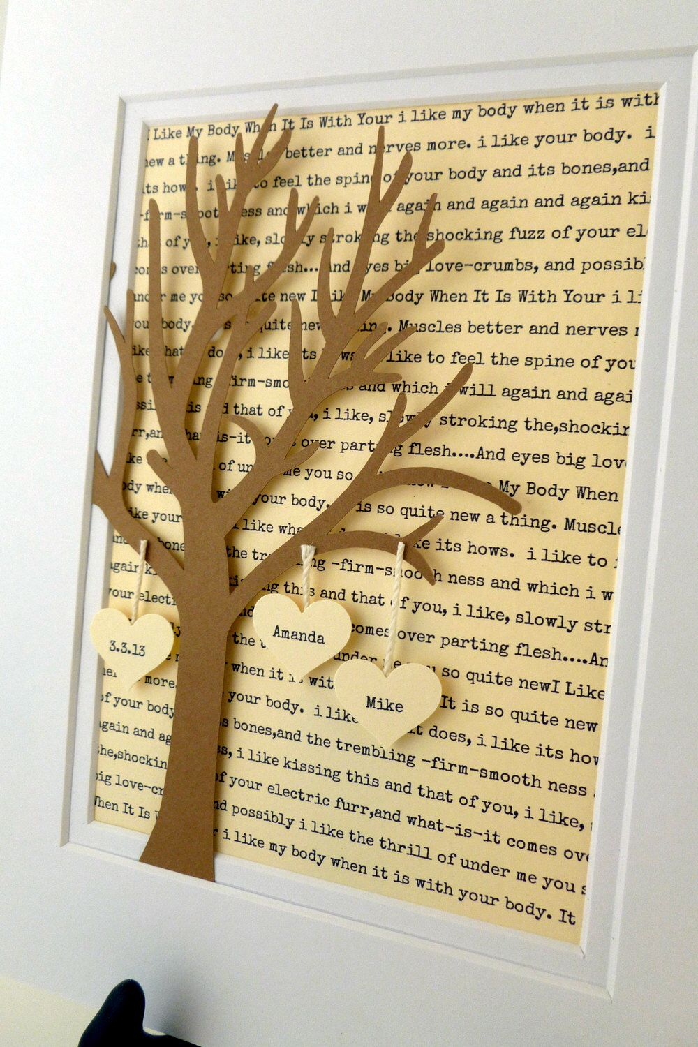 Personalized Wedding Or Anniversary Gift 3d Paper Tree With Hearts