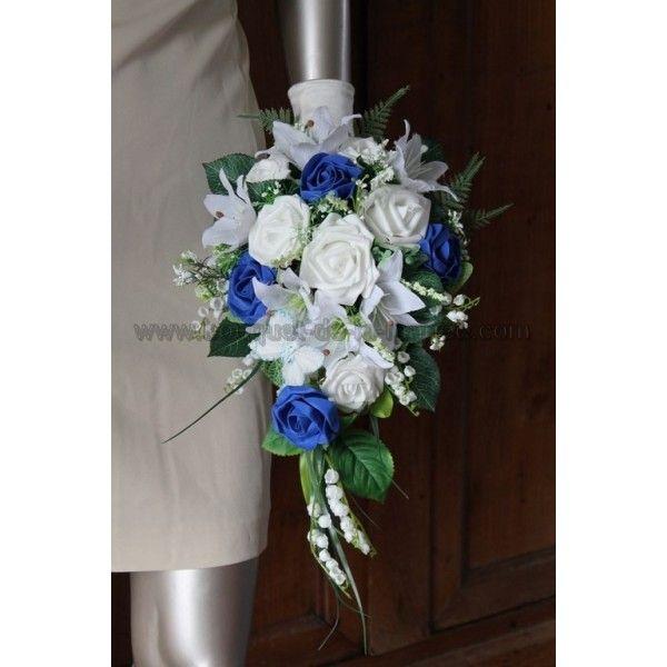 Sublime bouquet de mariée bleu roi, lys et roses, muguet ...