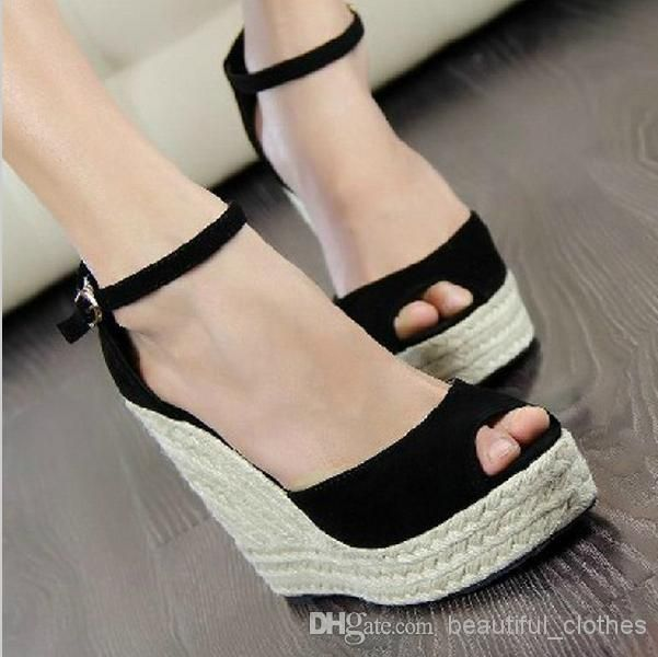 9e4ba00b1867 Wholesale Dress Shoes - Buy Elegant Fashion Women s Open Toe Button Straw  Braid Wedges Sandals Platform Velvet Platform Wedges Shoe High Heels Hot  Sale