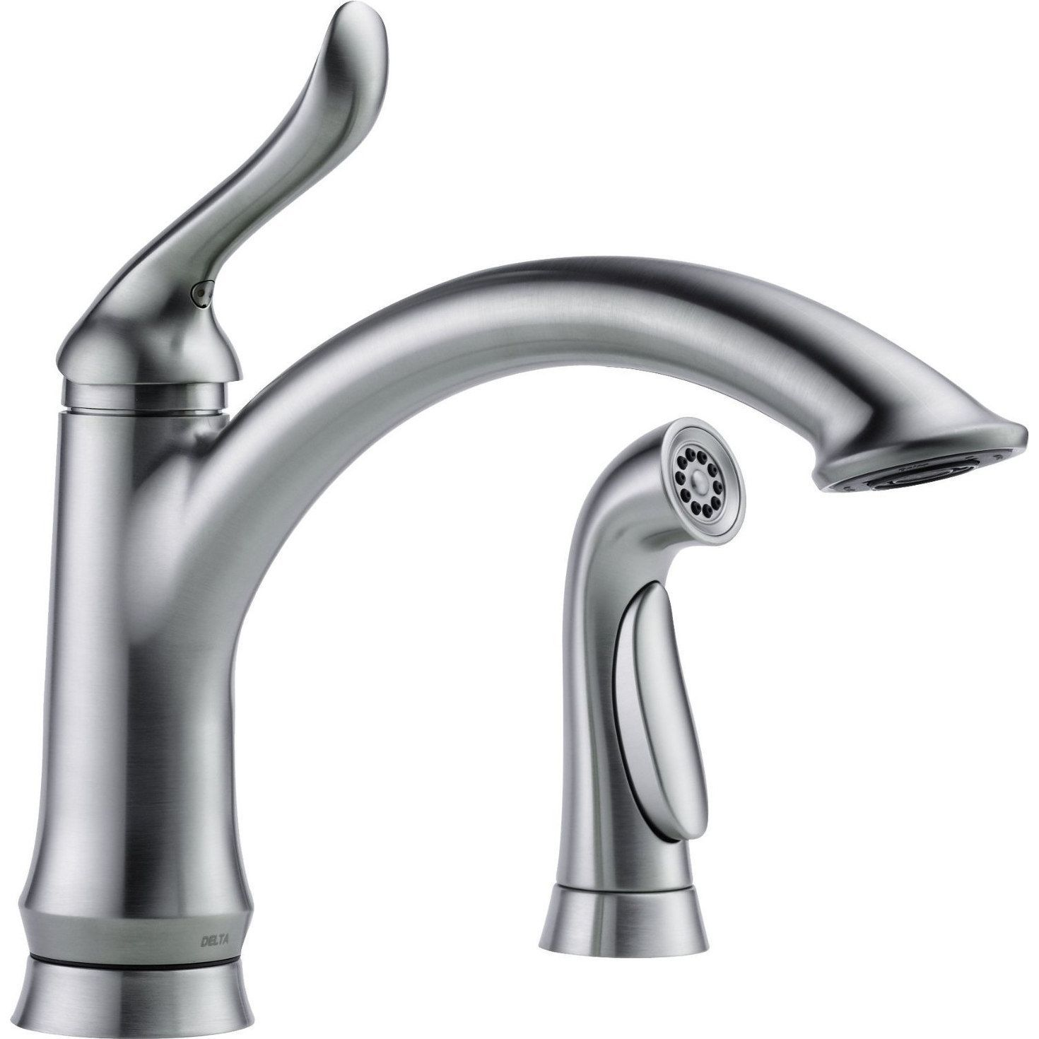 Delta 4453 Ar Dst Linden Single Handle Kitchen Faucet With Spray Arctic Stainless Steel Silver Products Kitchen Faucet With Sprayer Faucet Delta Fauce