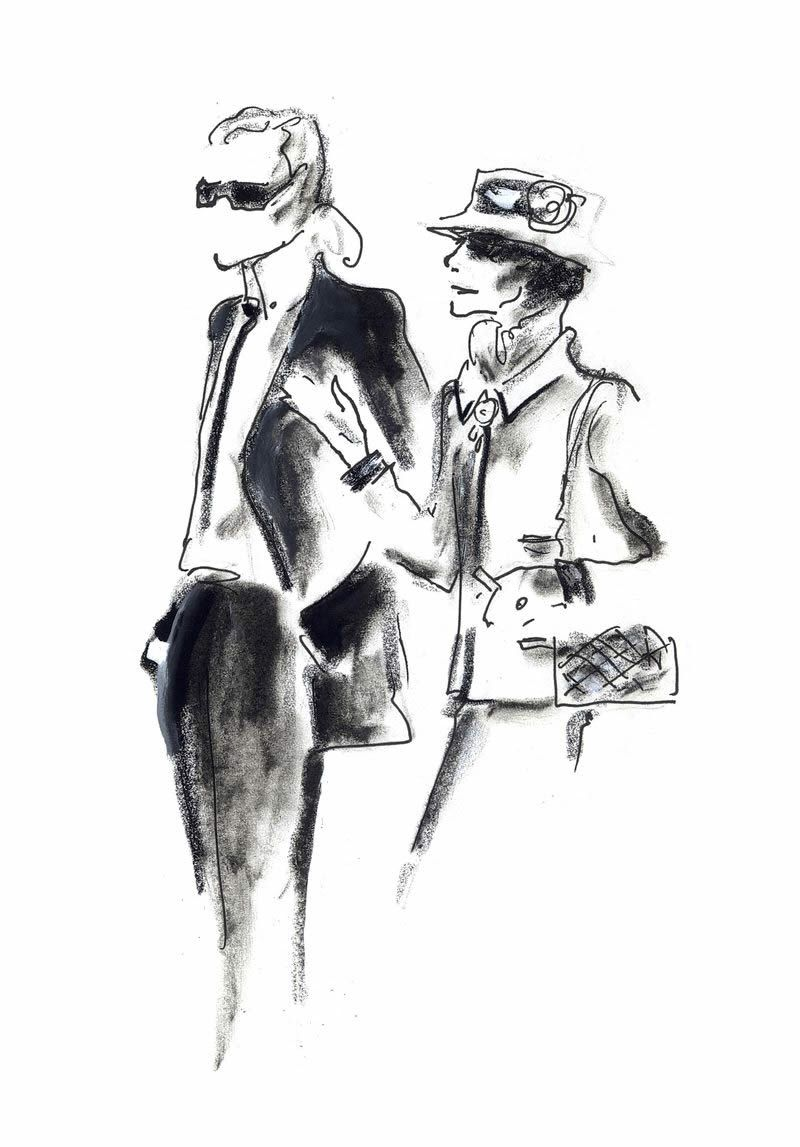 Encuentro imaginario Entre Coco Chanel y Karl Lagerfeld. Dibujo original de Karl Lagerfeld.