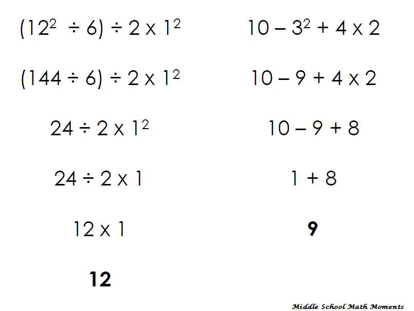 Printable Worksheets order of operations easy worksheets : Middle School Math Moments (and more!): Order of Operations ...