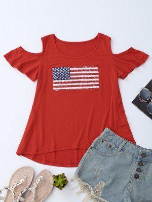 American Flag Sequins Cold Shoulder T-Shirt - Red