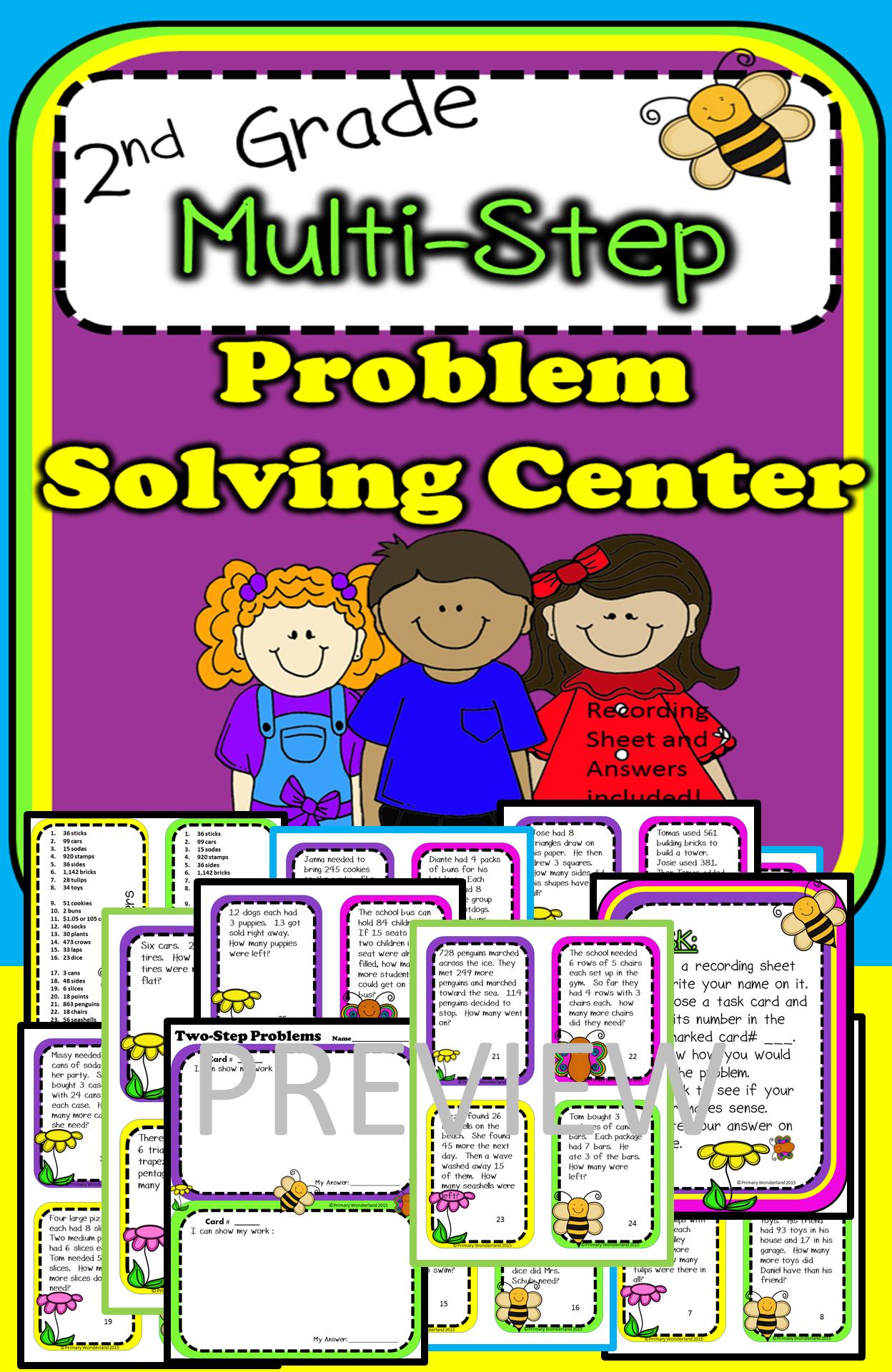 2nd Grade Multi Step Problem Solving Center Common Core