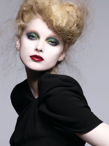 Green eyes bold lips
