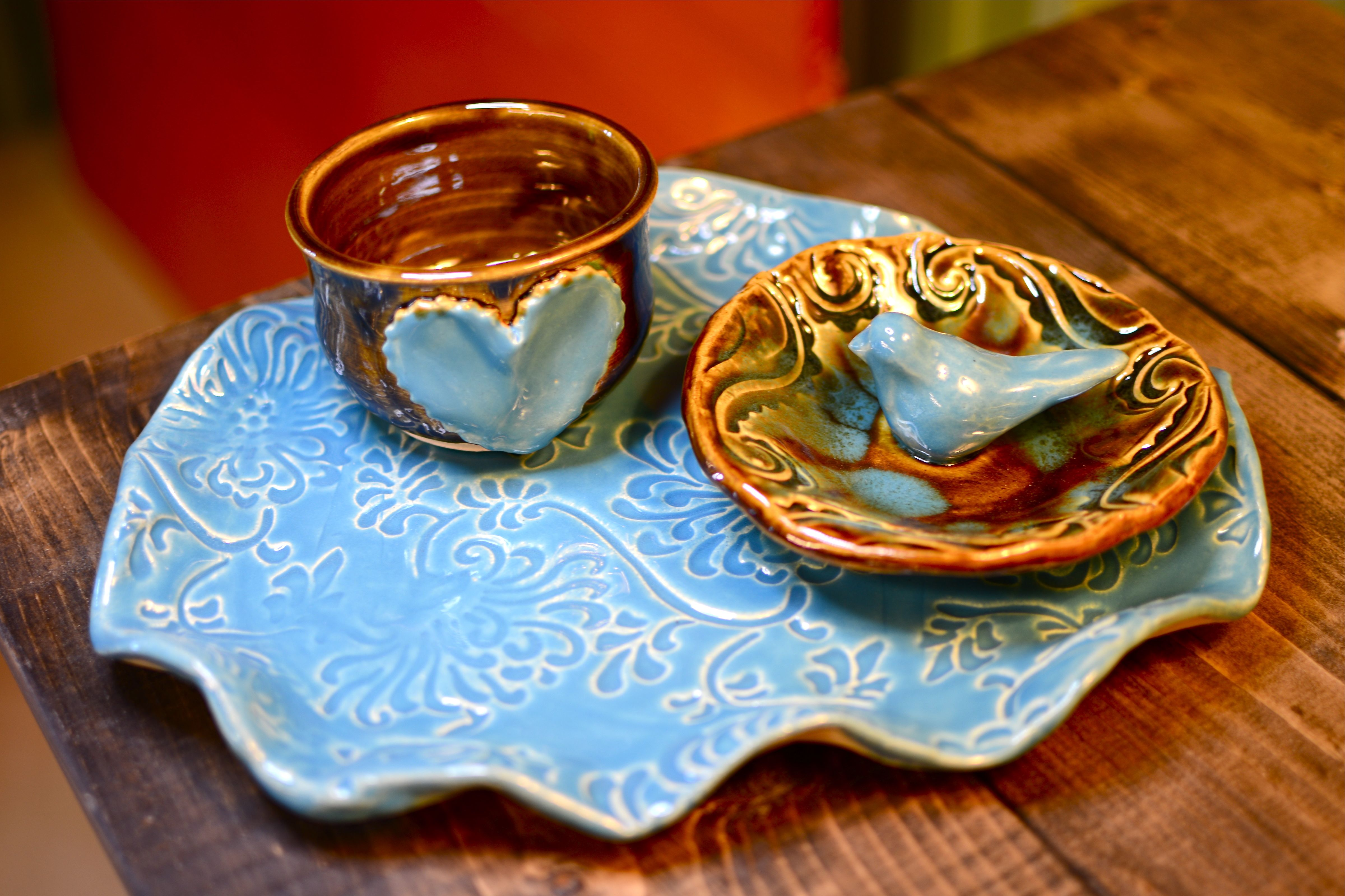 Hand Built Pottery Plates