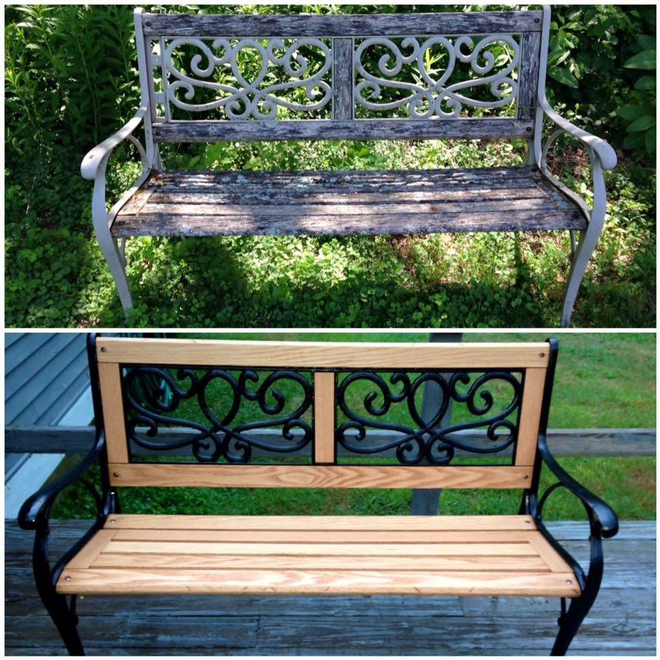 Awesome Refinished Garden Bench Replaced All Of The Wood Slats Beatyapartments Chair Design Images Beatyapartmentscom