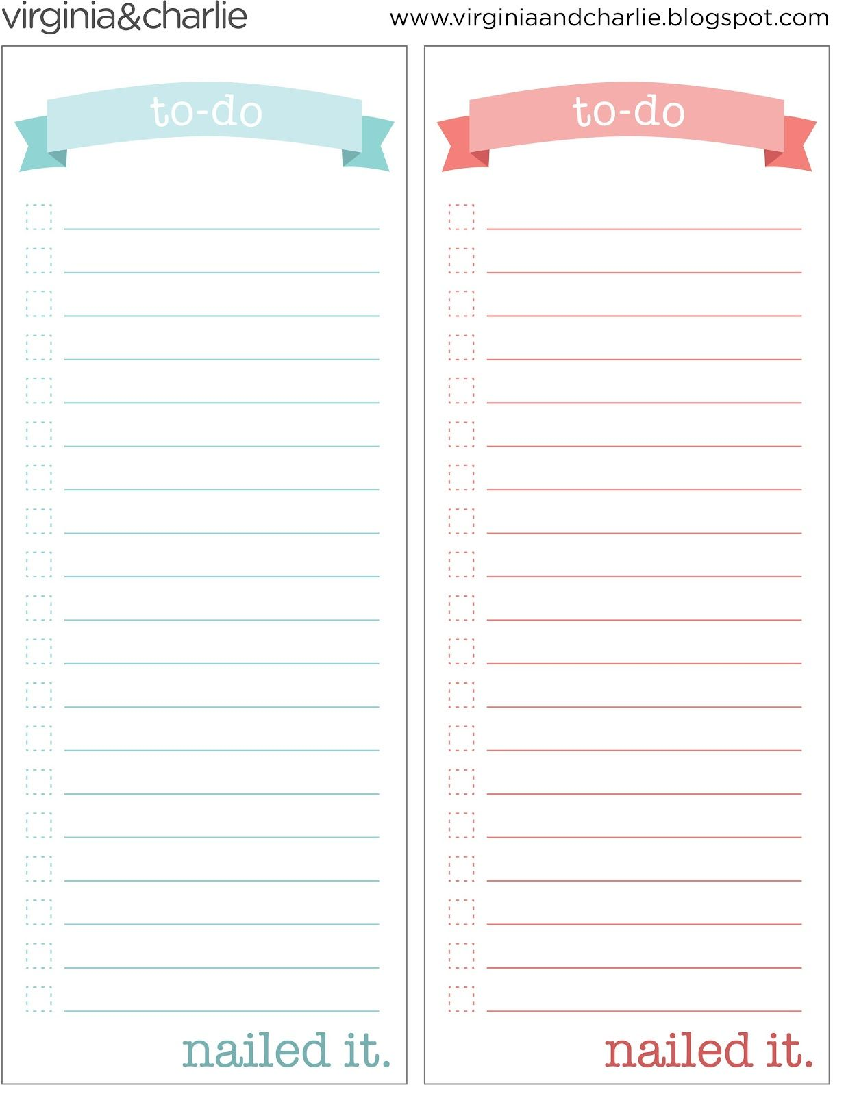 Things To Do Template Pdf  Virginia And Charlie Printable ToDo