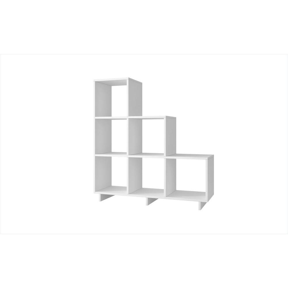Manhattan Comfort Cascavel 36 22 In W X 11 41 In D Sophisticated White Stair Cubby Shelf 26amc6 White Stairs Cubby Shelves Step Bookcase