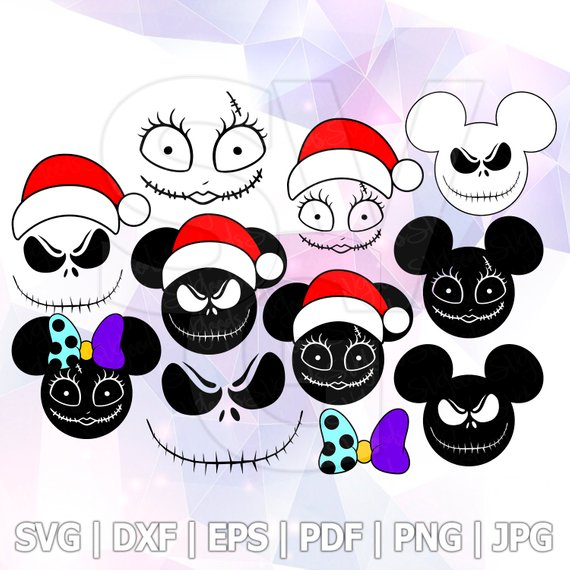 More template about nightmare before christmas 1 the digital files include: Skellington Jack Sally Heat Transfer Nightmare Before Christmas Svg Mickey Mouse Bow Face Vector D Christmas Svg Nightmare Before Christmas Christmas Svg Files