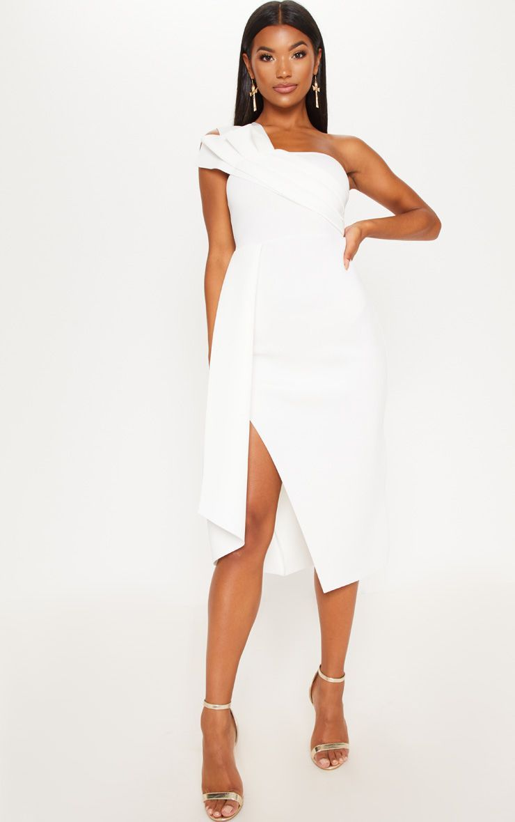 White Bonded Scuba Pleated Draped Midi Dress -   17 white dress Midi ideas