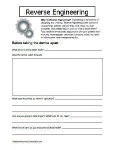 Reverse Engineering Printable Worksheets
