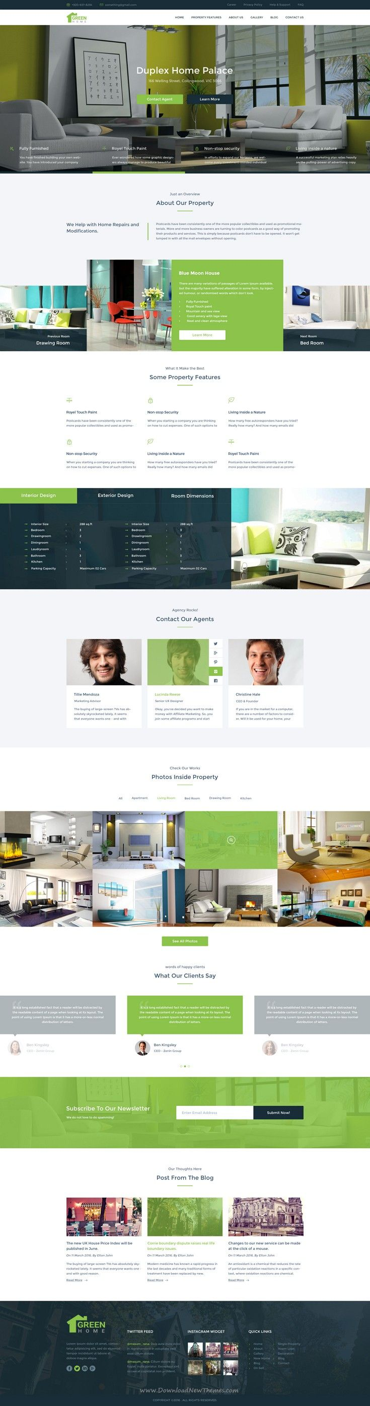 Green Home Single Property Real Estate PSD #Template is best solution for both Real Estate Agencies and #Property Owners #website. Download Now!