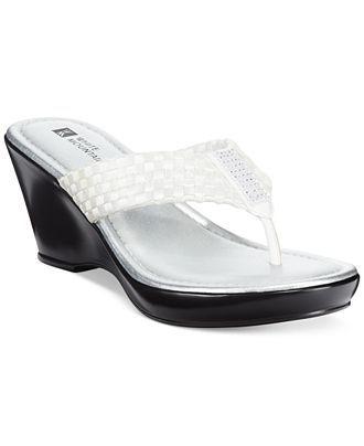 c6809f407e White Mountain Wishlist Platform Wedge Thong Sandals - Sandals - Shoes -  Macy's