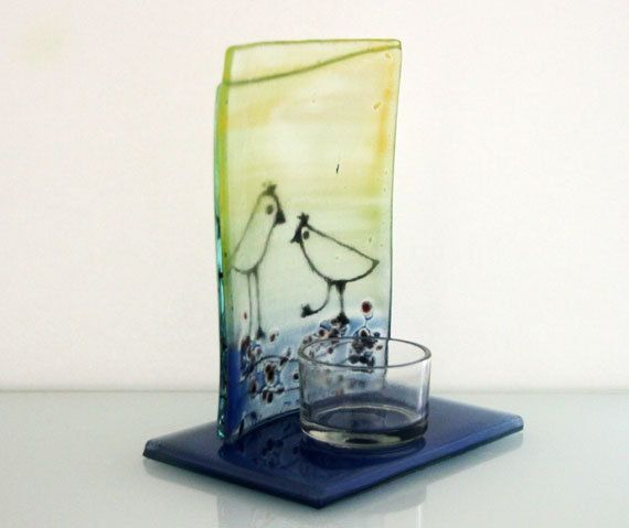 Candle Holder Bird landscape fused Glass art by virtulyglass
