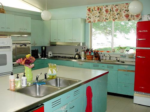 Delightful Nancyu0027s Metal Kitchen Cabinets Get A Fresh Coat Of Paint   And Lots Of New  Red Accents | Aqua Kitchen, Google Images And Aqua