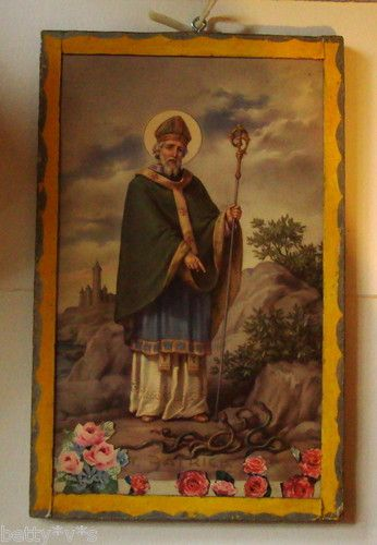 Vintage kitsch double Sided picture collage of Mary and Jesus / St Patrick