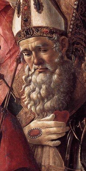 Botticelli, Pala di San Barnaba (detail, St. Ignatius of Antioch), c. 1488. Beautiful.