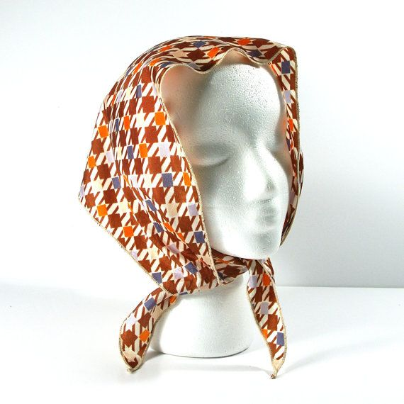 Vintage MOD Scarf Check Print Triangle, 60s Nylon Brown Blue and Orange Hair Wrap Head Scarf