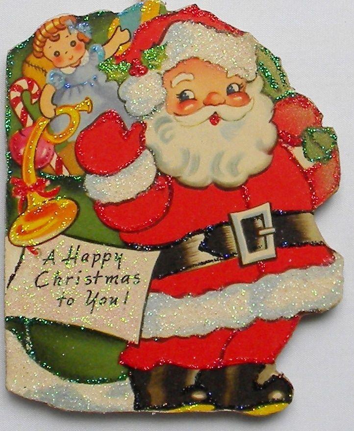 Santa Bag Of Toys Glittered Wood Christmas Ornament Vtg 30s Greeting Card