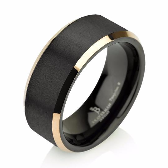 Yellow Gold Brushed Black Tungsten Ring Wedding Band Carbide 8mm 14k Man
