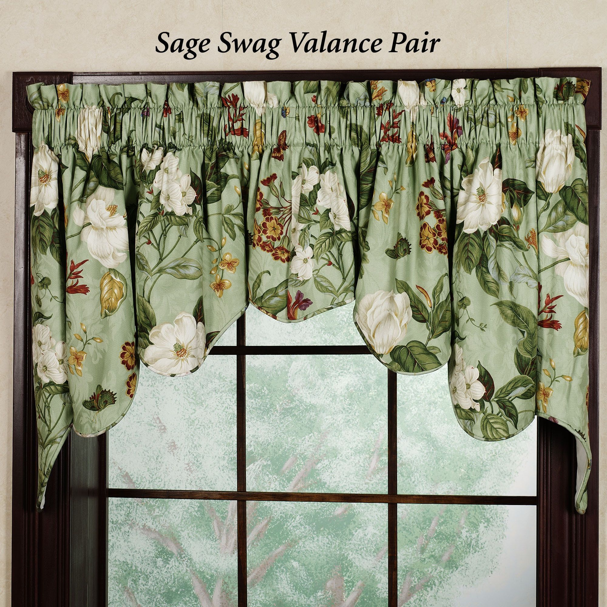 Beautiful Waverly Valances For Your Window Decor: Vintage Garden Duchess  Swag Valance Pair By Waverly