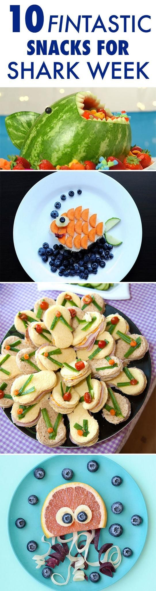 10 Fantastic Snacks to Celebrate Shark Week #sharkweekfood Celebrate Shark Week in style with these adorable, healthy snacks! // food // kid friendly // summer food ideas // party ideas // snacks // healthy recipes // Beachbody // BeachbodyBlog.com #sharkweekfood