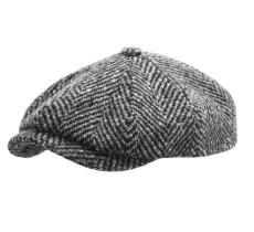 Men/'s Classic chevrons Newsboy Cap 100/% Laine Tweed Chauffeur Chapeau Noir Ns2317