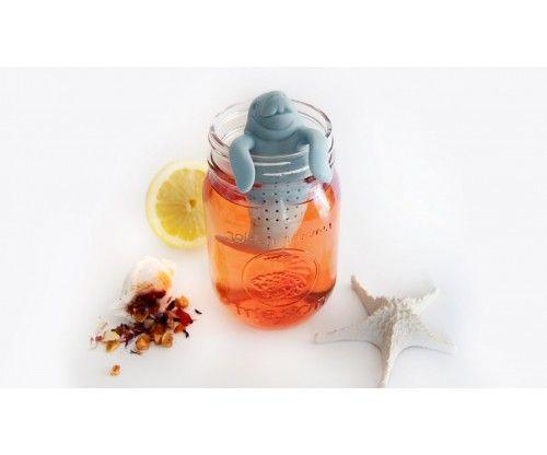 Szilikonból készült vicces lamantin teafilter - teatojás - teaszűrő, bármilyen teával megtölthető, szuper teás ajándék