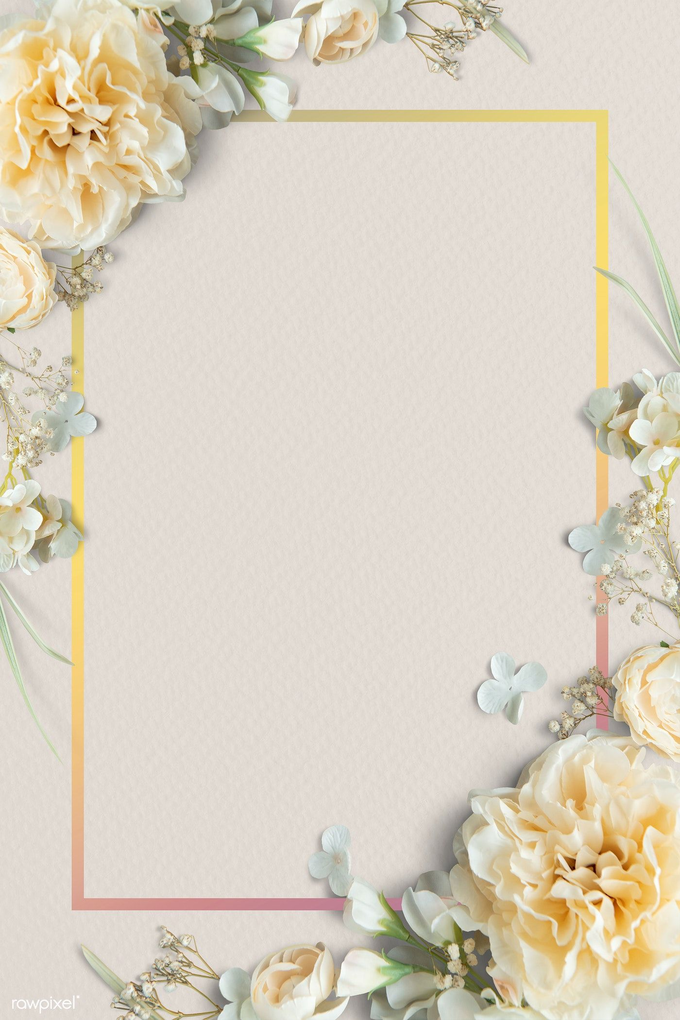 Download Premium Vector Of Floral Rectangle Golden Frame Vector 1212092 Floral Border Design Flower Frame Frame Design