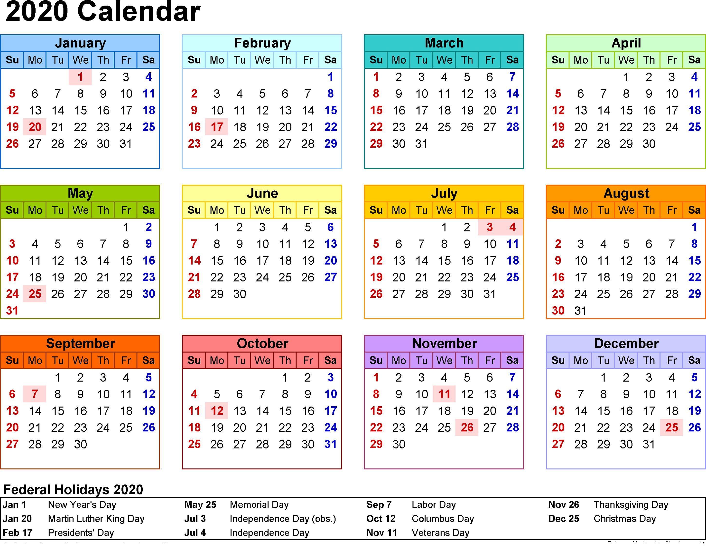 2020 Calendar Printable With Holidays And Notes Calendar Dream