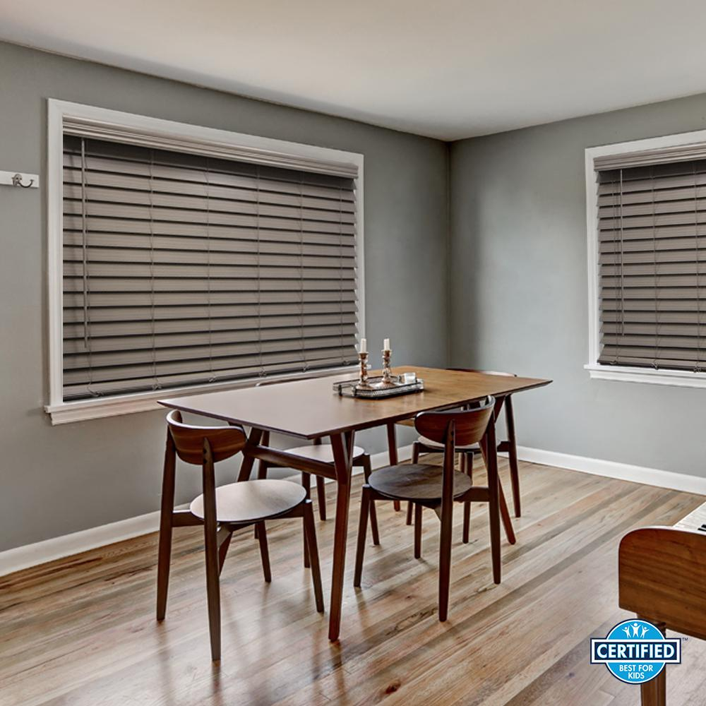 Home Decorators Collection Driftwood Gray Cordless Room Darkening 2 5 In Premium Faux Wood Blind For Window 28 5 In W X 64 In L 10793478381319 The Home D Faux Wood Blinds Wood Blinds Faux Wood