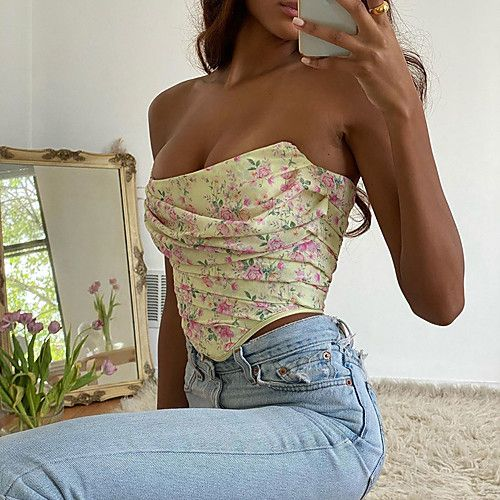 Women's Going out Tank Top Floral Print Strapless