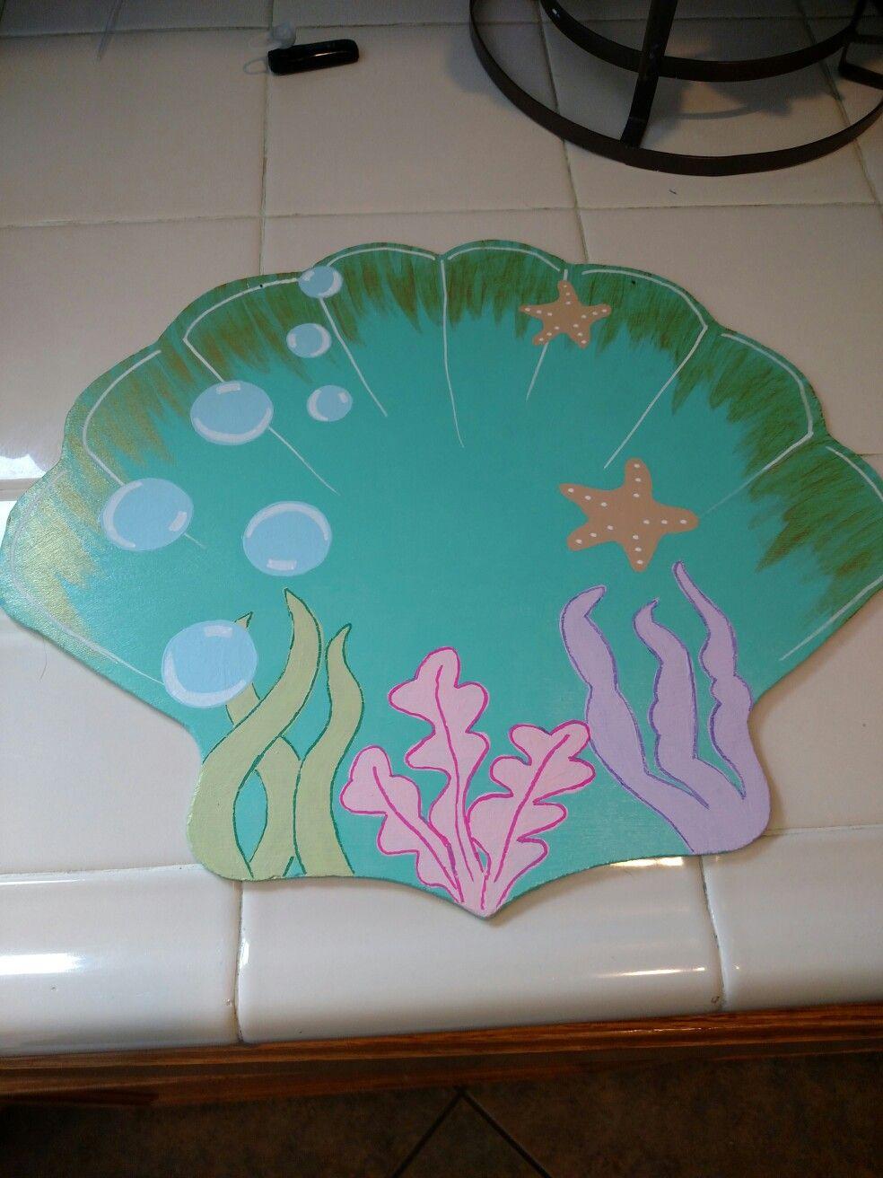 Diy mermaid decor from dollar tree clamshell mermaid