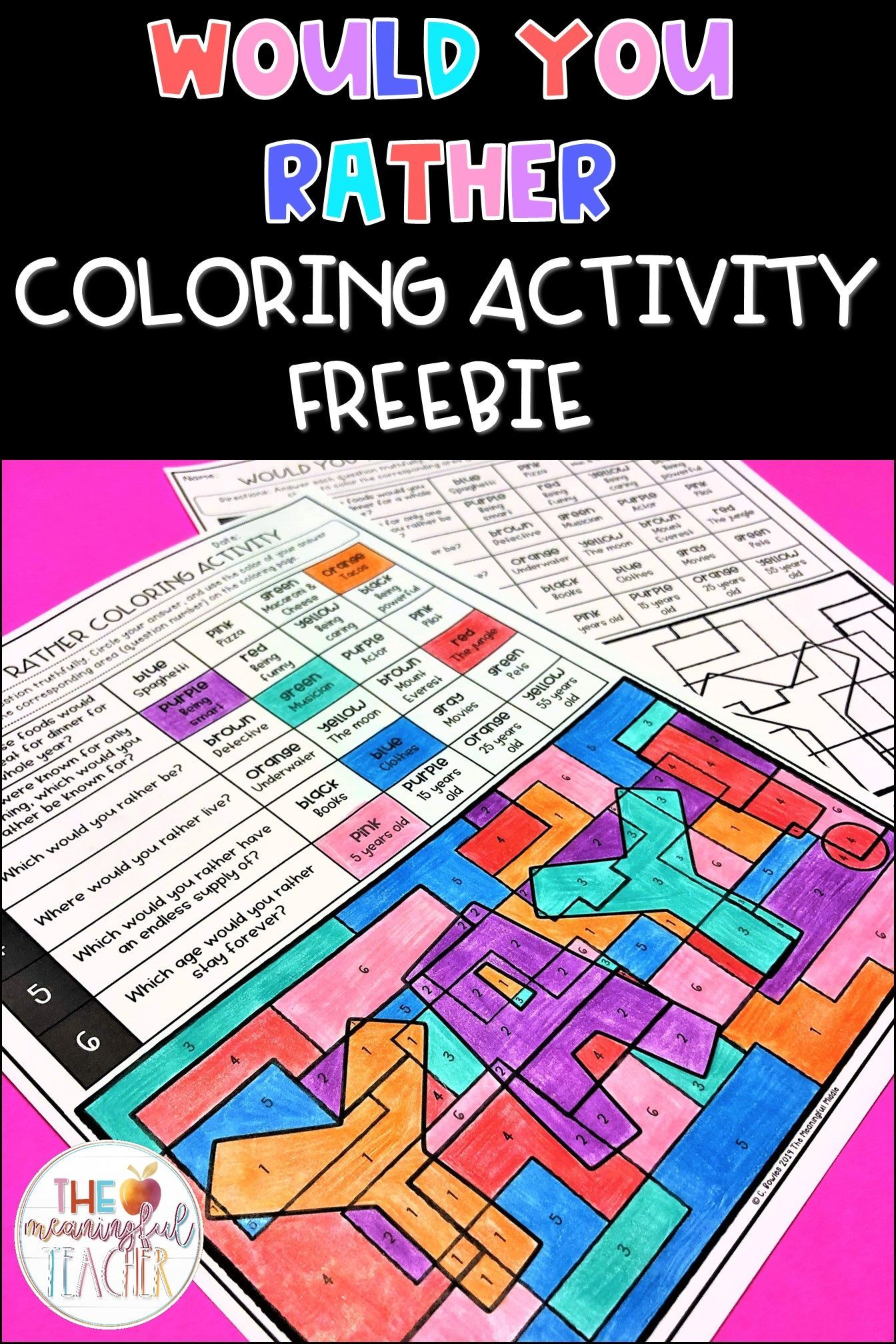 Free Would You Rather Questions And Coloring Sheet In