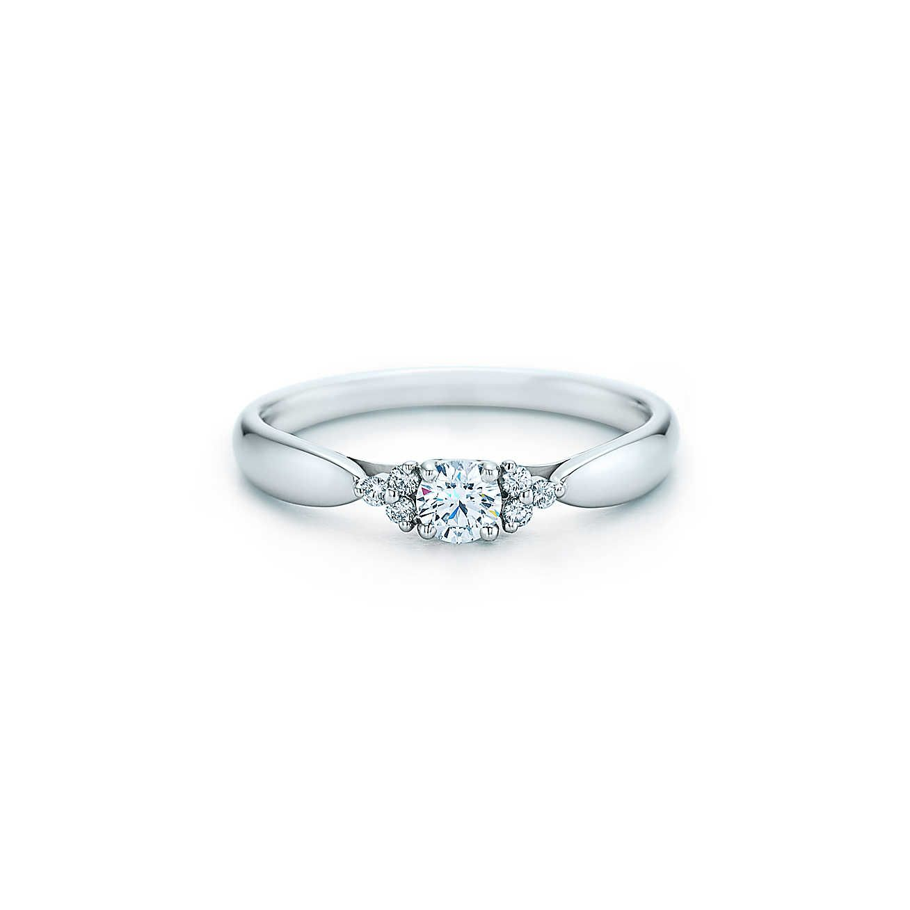 Tiffany harmony diamond ring with side stones silver jewelry